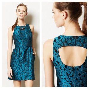 ANTHROPOLOGIE Tabitha Ottava Teal Lace Mini Dress
